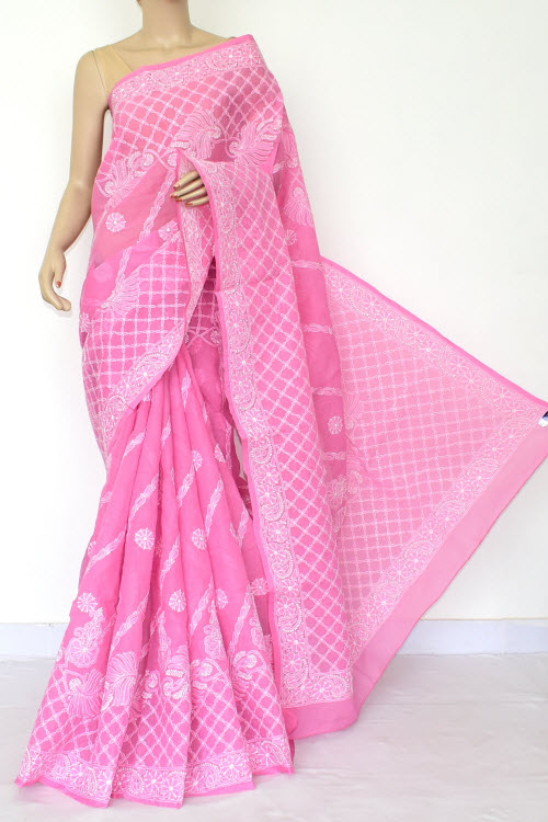 Pink Hand Embroidered Lucknowi Chikankari Saree (Cotton-With Blouse) 14809