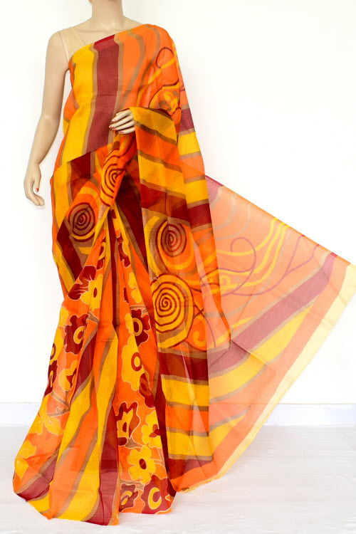 Multi-Color Designer Supernet Embroidered Saree (Without Blouse) 15456
