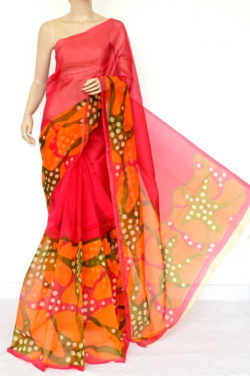 Multi-Color Designer Supernet Embroidered Saree (Without Blouse) 15457