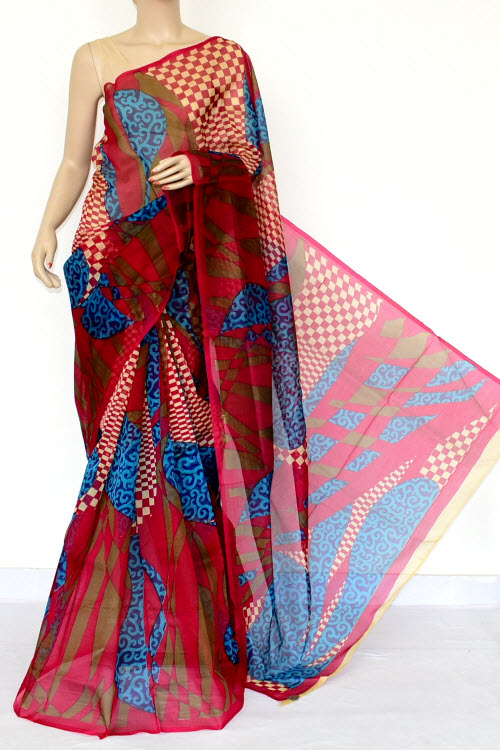Multi-Color Designer Supernet Embroidered Saree (Without Blouse) 15460