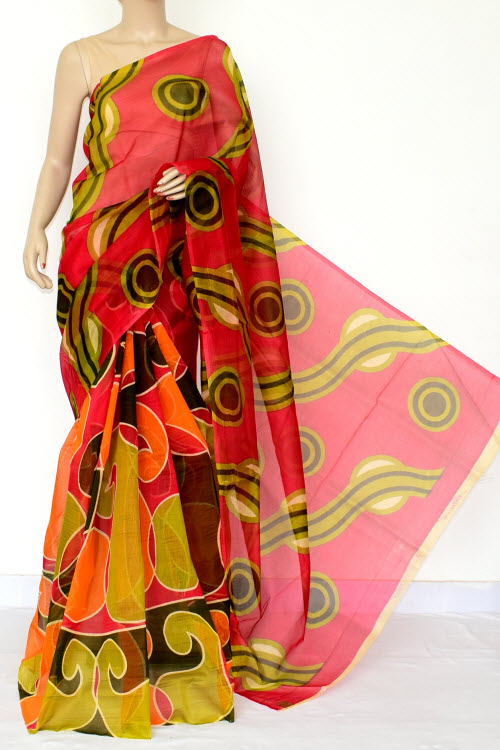 Multi-Color Designer Supernet Embroidered Saree (Without Blouse) 15463