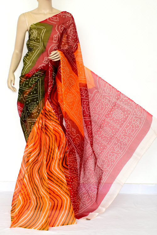 Multi-color Designer Supernet Embroidered Saree (without Blouse) 15464
