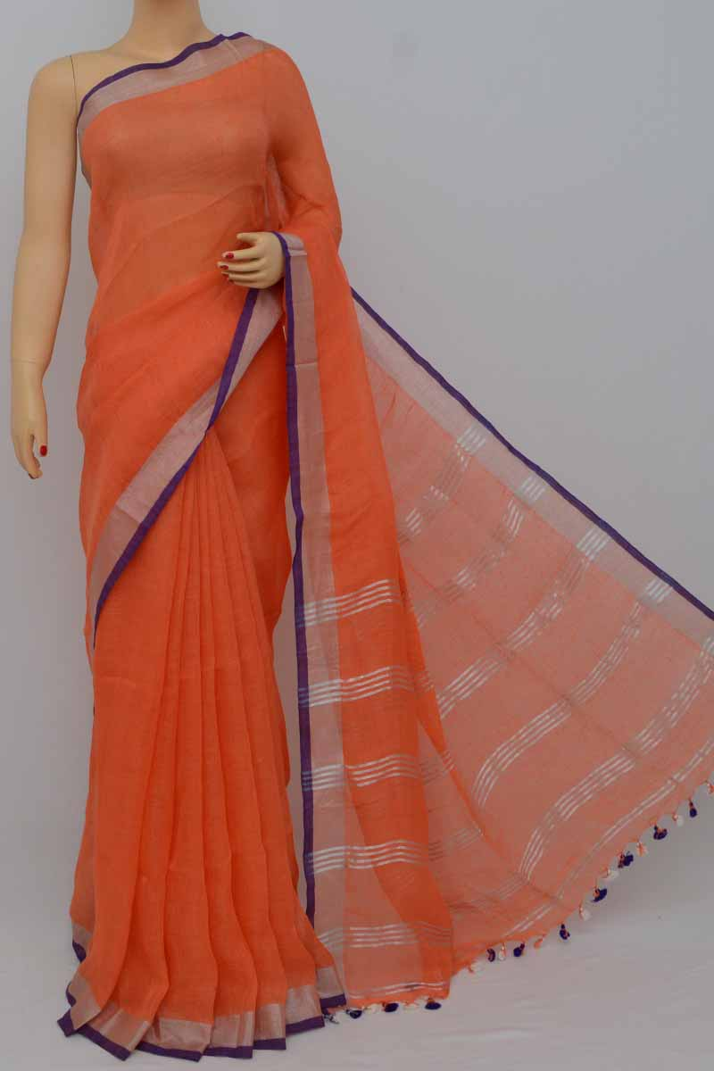 Orange Color Handwoven Textured Traditional Saree (With Blouse)zari border - HS250372