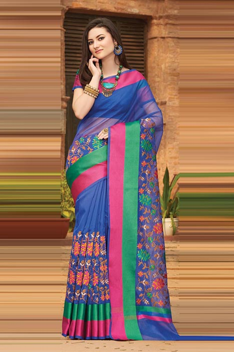 Chanderi Saree With Resham Green Colour border And Embroidery