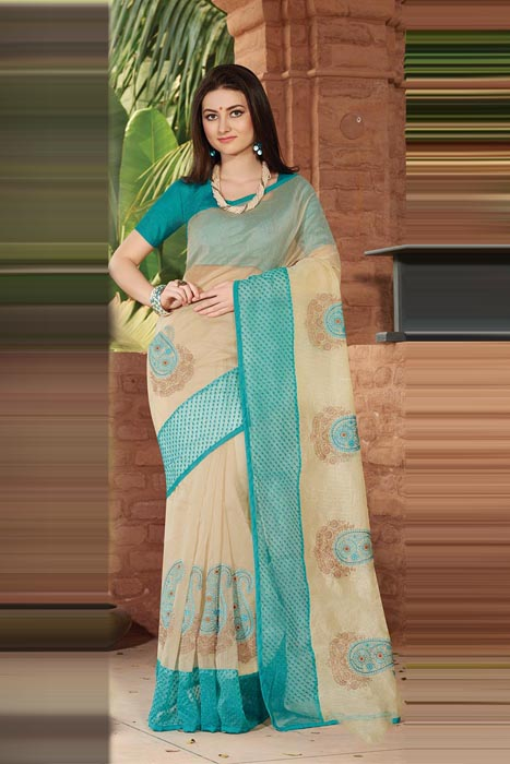 Chanderi Beige Saree  With Resham Embroidery