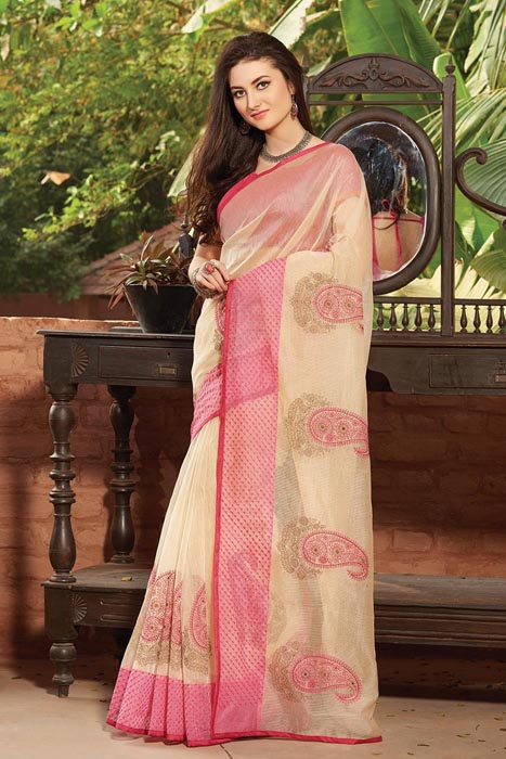 Chanderi Buta Joint Patta With Resham Embroidery