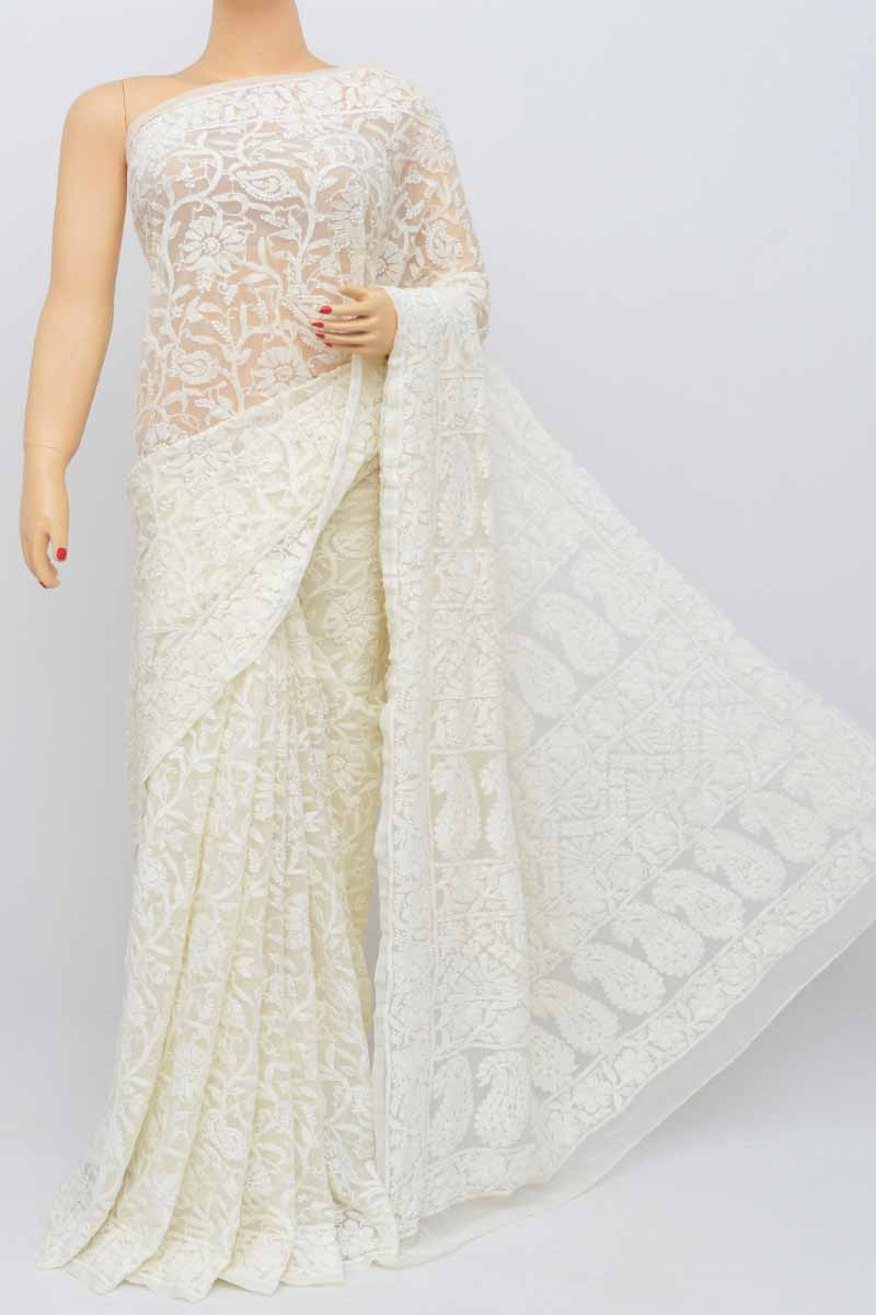 Butter Colour Allover Heavy Palla Hand Embroidered Lucknowi Chikankari Saree (With Blouse - Georgette) SS250487