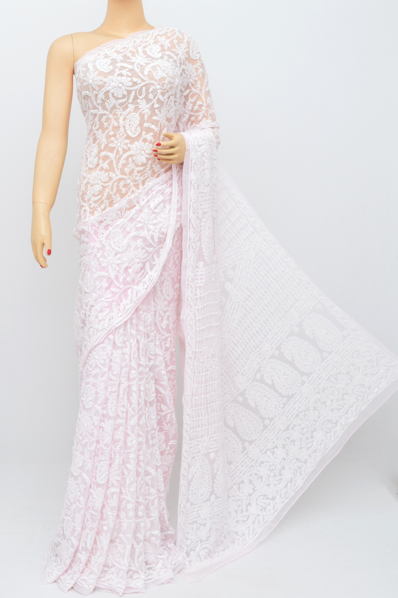 19a7d92d99 Babypink Colour Allover Heavy Palla Hand Embroidered Lucknowi Chikankari  Saree (With Blouse - Georgette)