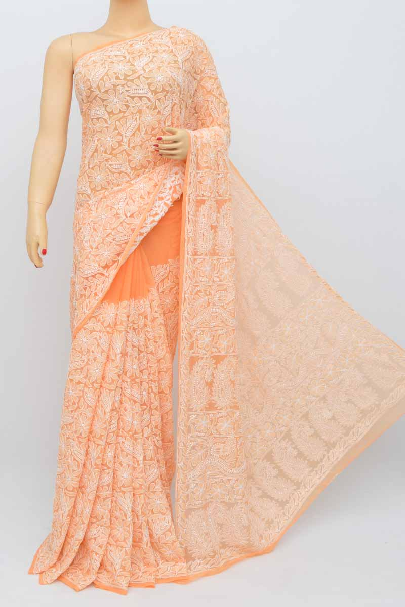Orange Color Allover Hand Embroidered Lucknowi Chikankari Saree (With Blouse - Georgette) SM250490