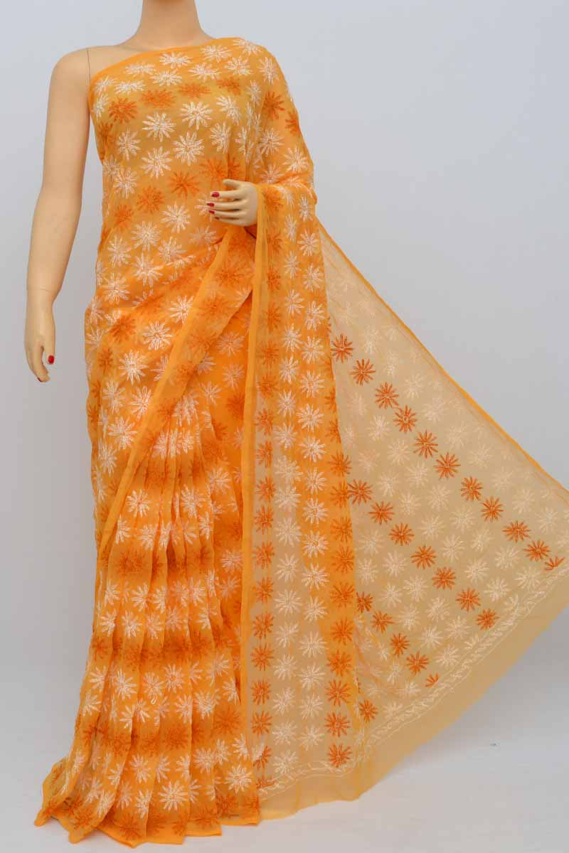 Orange Color Hand Embroidered Multithread Tepchi Work Lucknowi Chikankari Saree (With Blouse - Georgette) KC250492