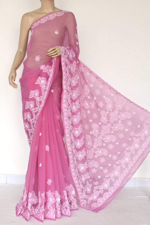 Purple Hand Embroidered Lucknowi Chikankari Saree (With Blouse - Georgette) 14420