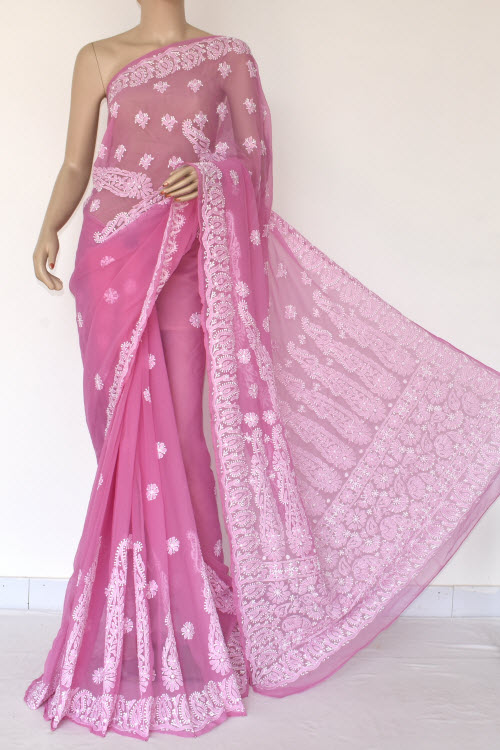 Purple Hand Embroidered Lucknowi Chikankari Saree (With Blouse - Georgette) 14460