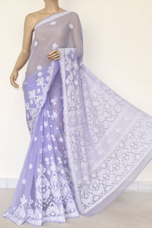 Voilet Hand Embroidered Lucknowi Chikankari Saree (With Blouse - Georgette) 14468