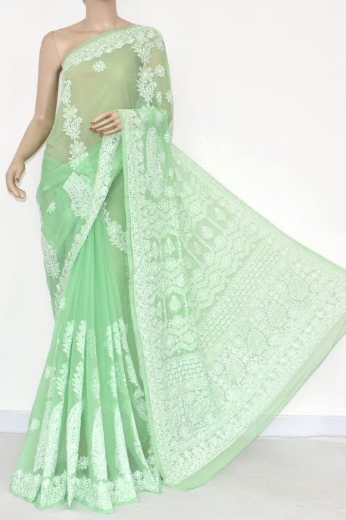 Light Green Hand Embroidered Lucknowi Chikankari Saree (With Blouse - Georgette) 14481