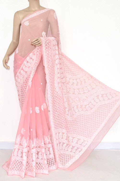 Light Pink Hand Embroidered Lucknowi Chikankari Saree (With Blouse - Georgette) 14483