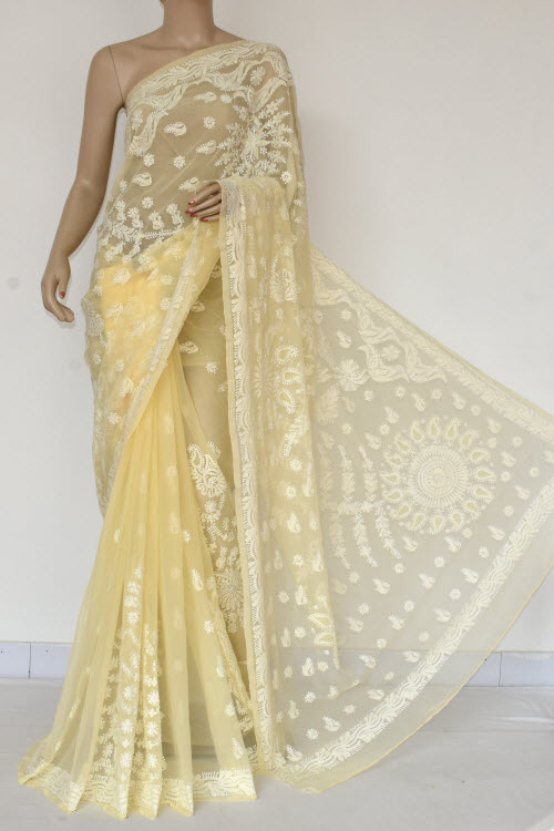 Yellow Hand Embroidered Lucknowi Chikankari Saree (With Blouse - Georgette) 14490