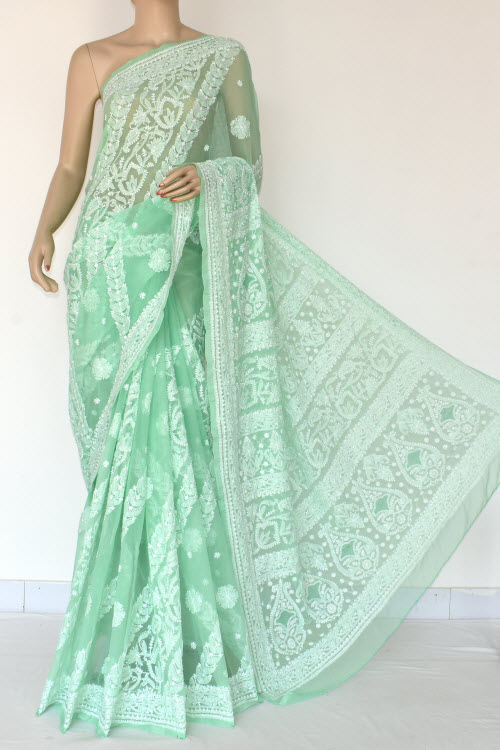 Seafoam Color  Hand Embroidered Lucknowi Chikankari Saree (With Blouse - Georgette) 14492