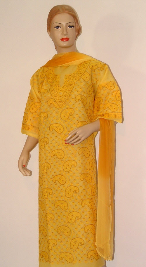 Chikankari Salwar Kameez  Cotton (unstitched) 10070