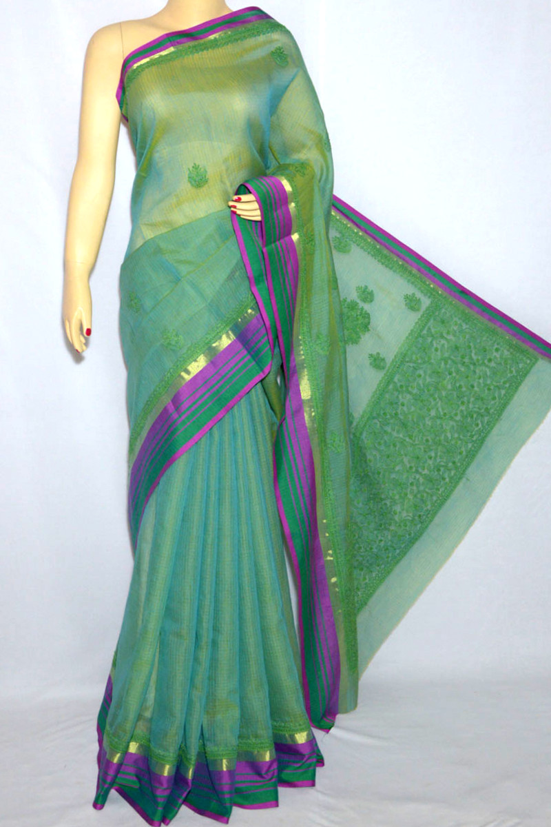 Green Color Kota With Zari Border Hand Embroidered Lucknowi Chikankari Saree (With Blouse - Georgette) HS250066