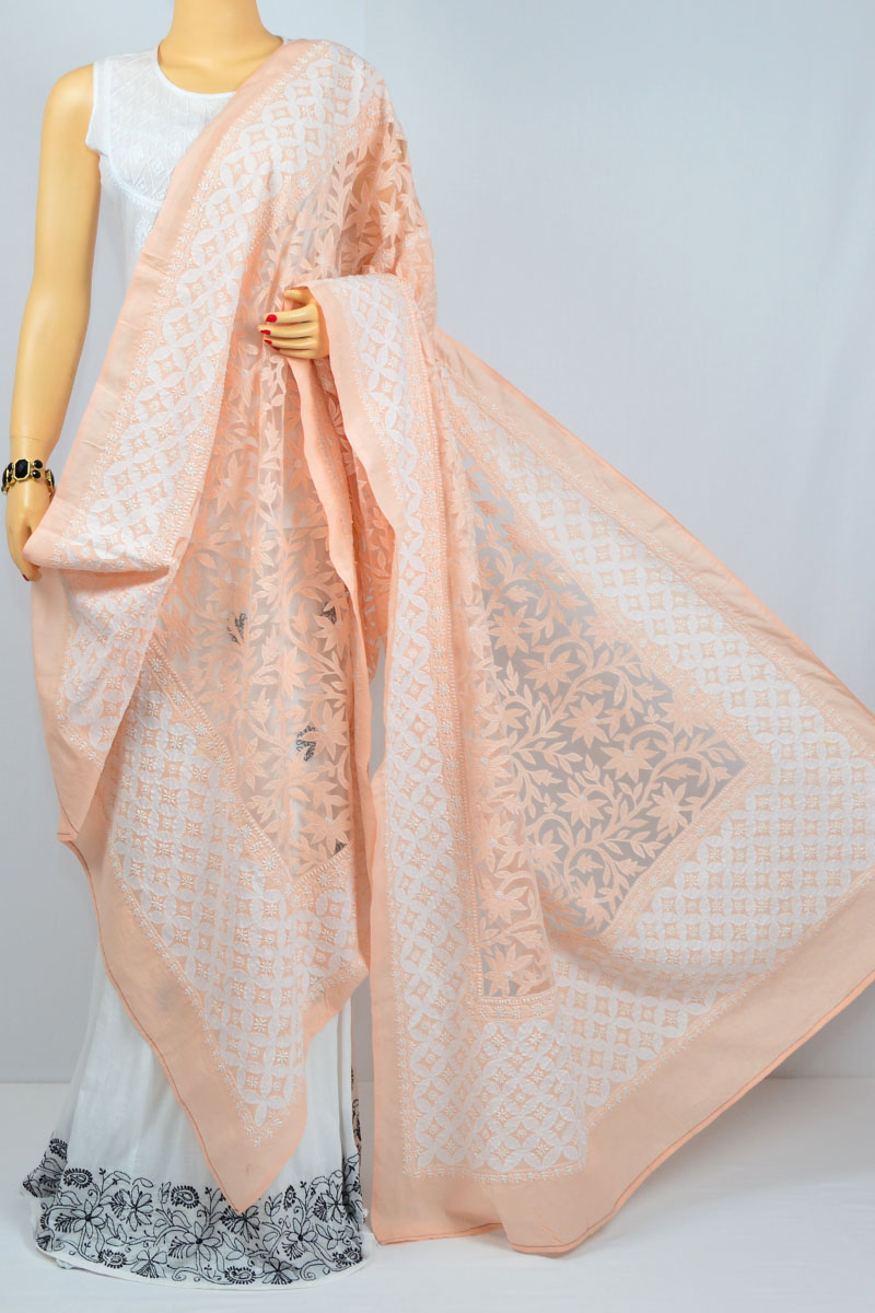 Peach Color Designer Jaal Hand Embroidered Lucknow Chikankari Cotton Dupatta - MCD400010