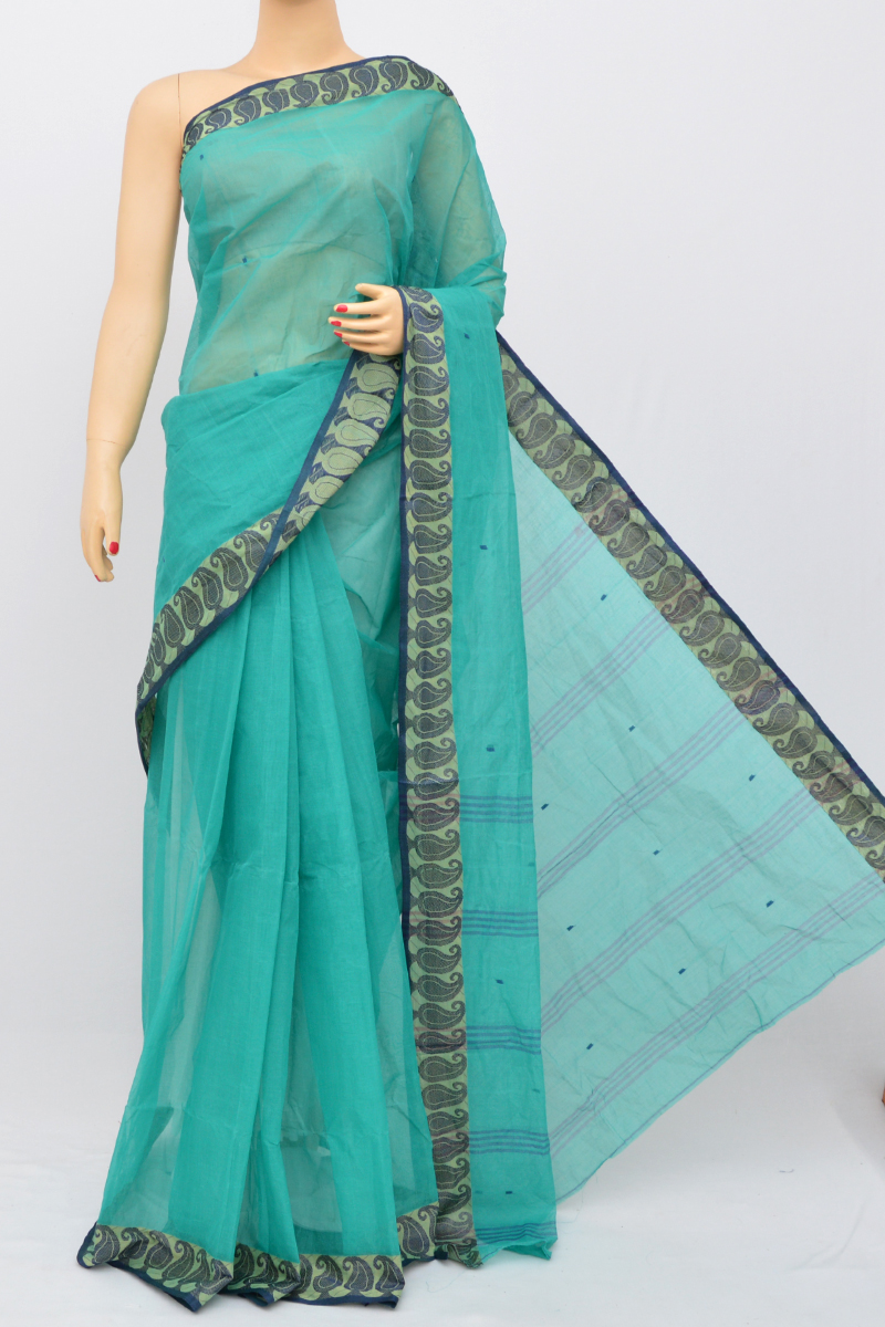 Seagreen Colour Bengal Handloom Cotton Saree(Without Blouse) SM250506