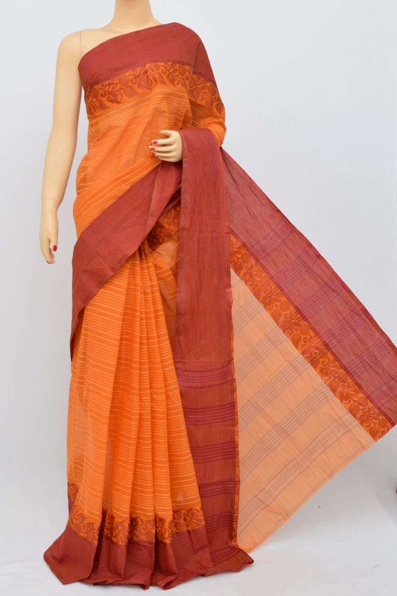 Orange Colour Bengal Handloom Cotton Saree(Without Blouse) SM250507