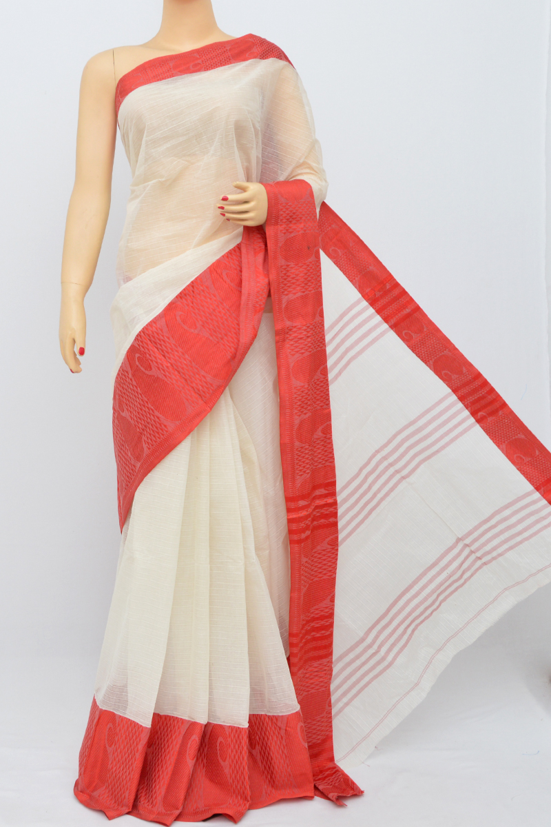360075c812 White Colour Bengal Handloom Cotton Saree (Without Blouse) - SS250499