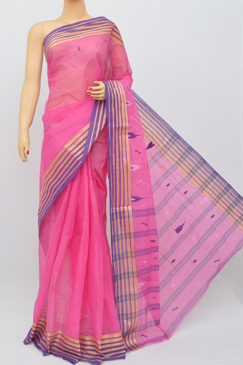 Pink Colour Bengal Handloom Cotton Saree (Without Blouse) - SS250500