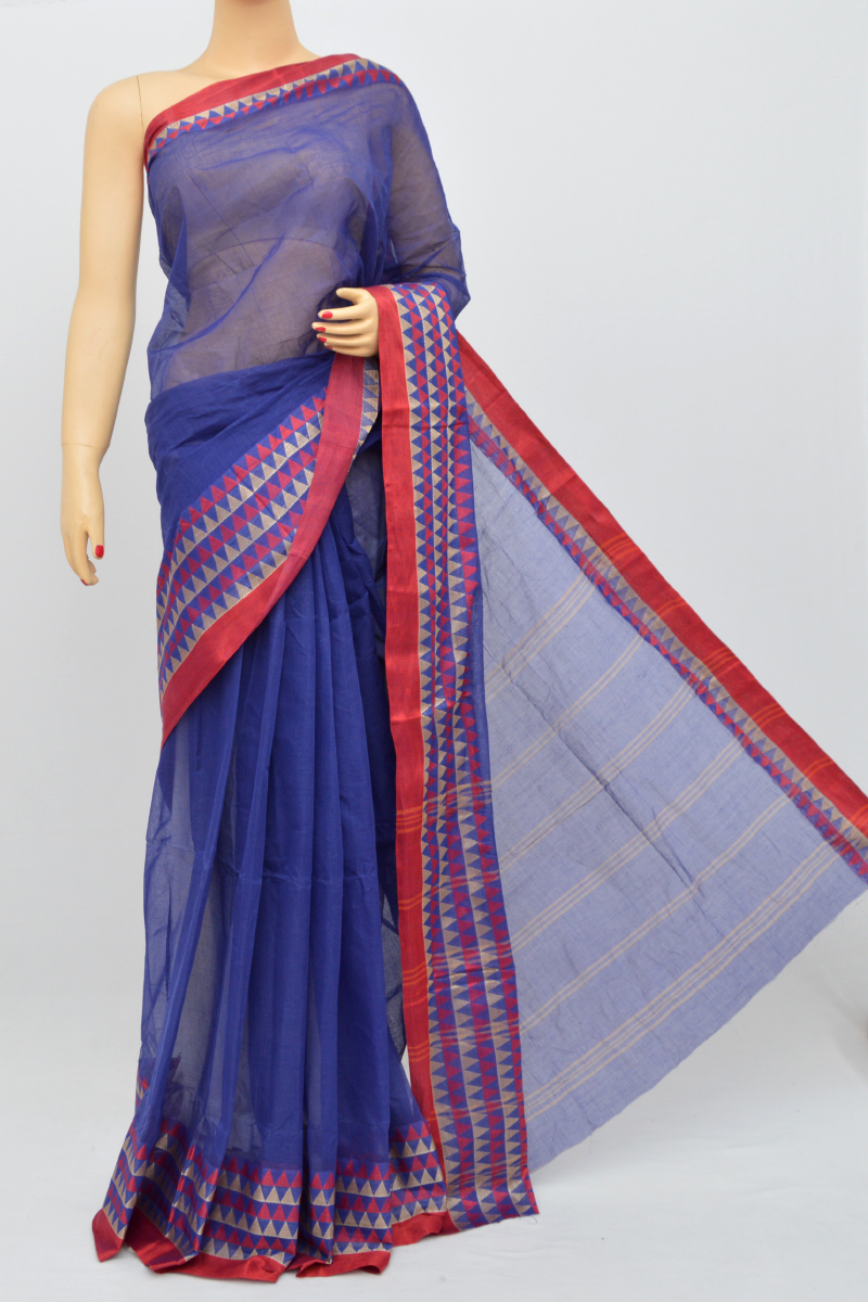 Blue Colour Bengal Handloom Cotton Saree(Without Blouse) SM250503