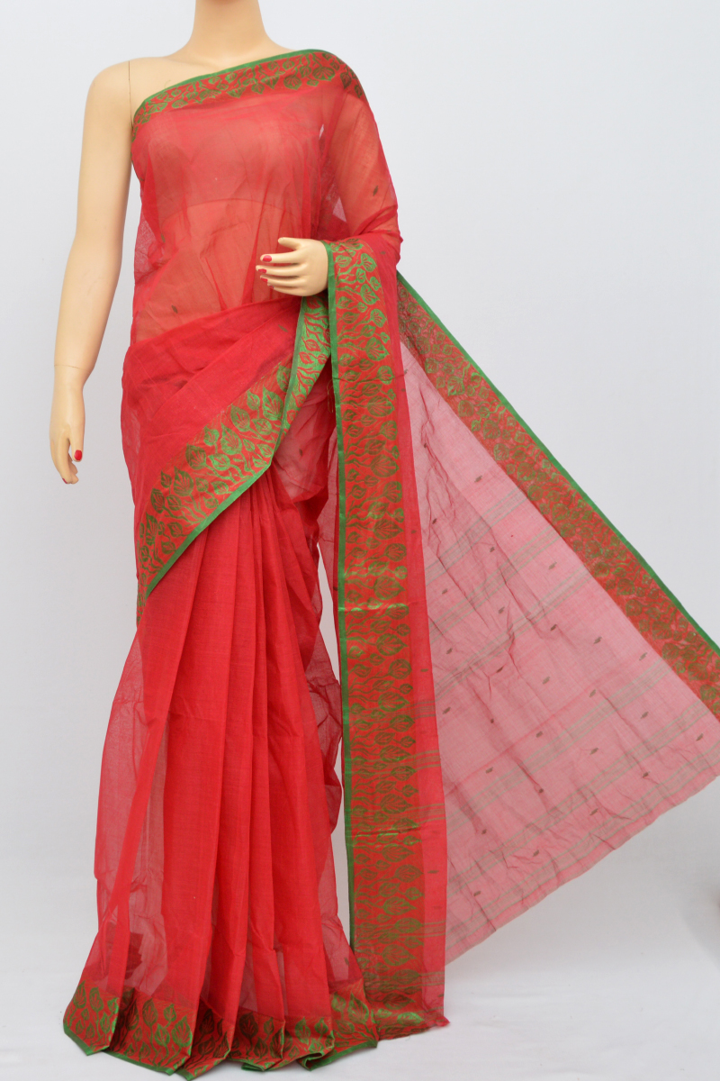 Red Colour Bengal Handloom Cotton Saree(Without Blouse) SM250504