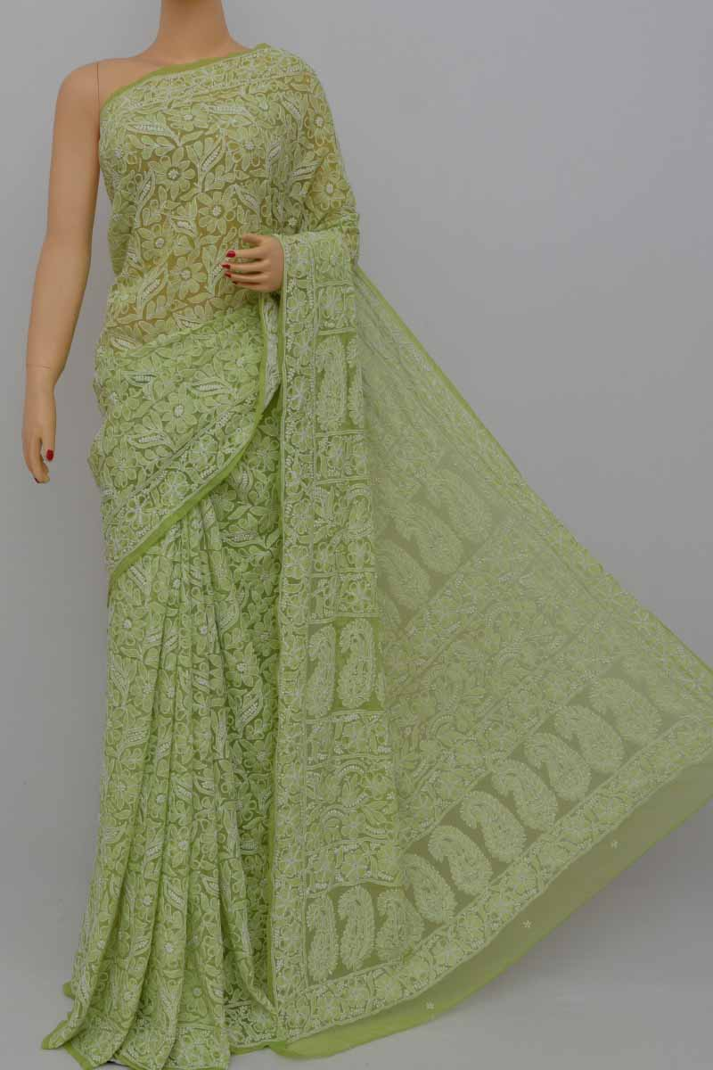 OliveGreen Allover Heavy Palla Hand Embroidered Lucknowi Chikankari Saree (With Blouse - Georgette) MY250411