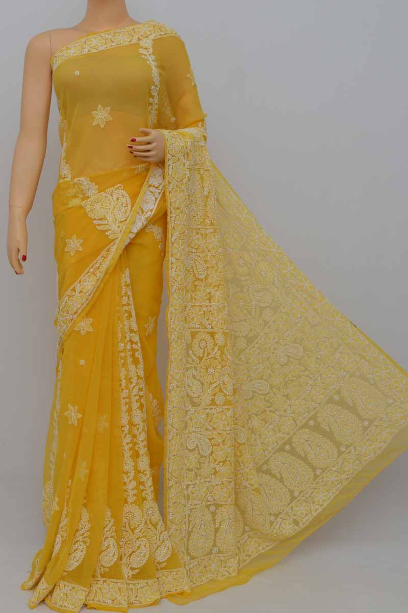 Honey Yellow Color Work Hand Embroidered Lucknowi Chikankari Saree (With Blouse - Georgette) HS250412