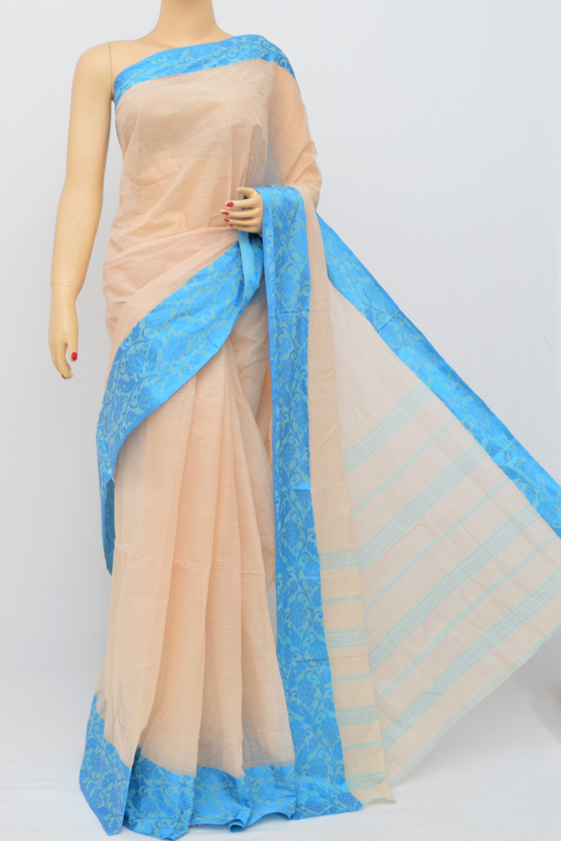 Biege Colour Bengal Handloom Cotton Saree(Without Blouse)MC250509