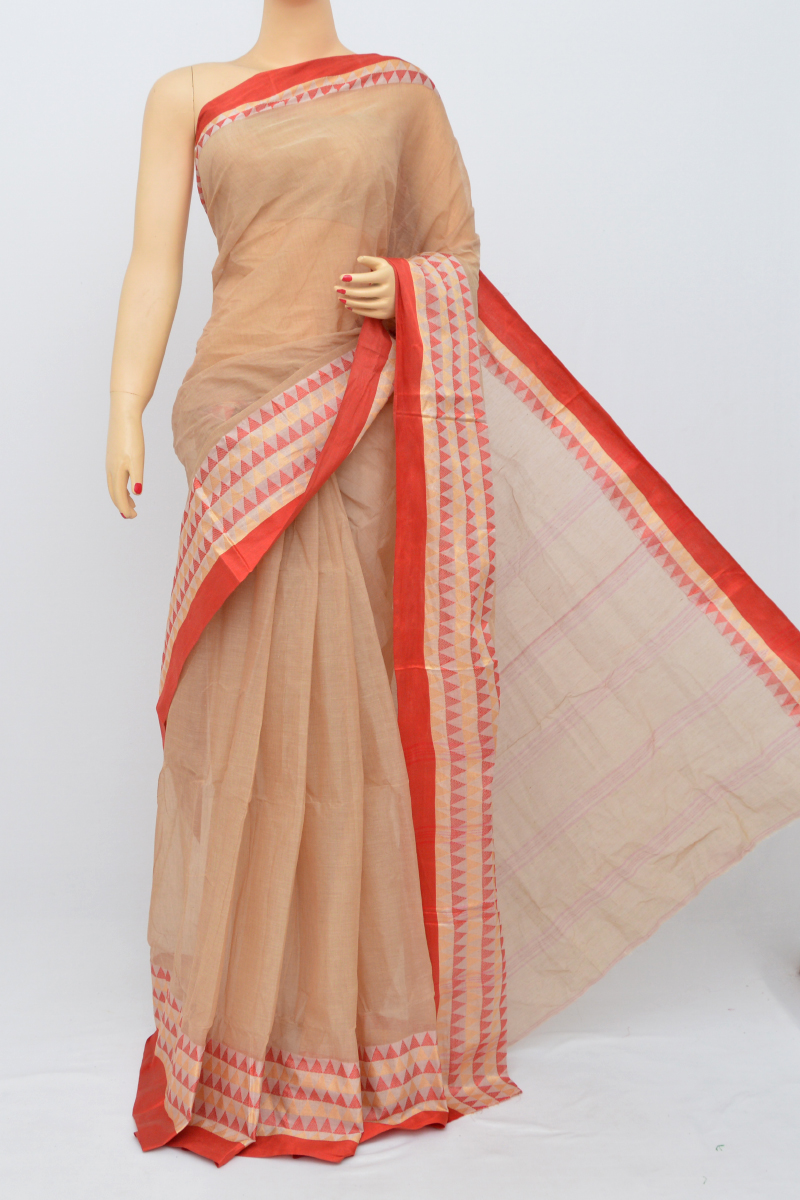 Camel Colour Bengal Handloom Cotton Saree(Without Blouse)MC250510