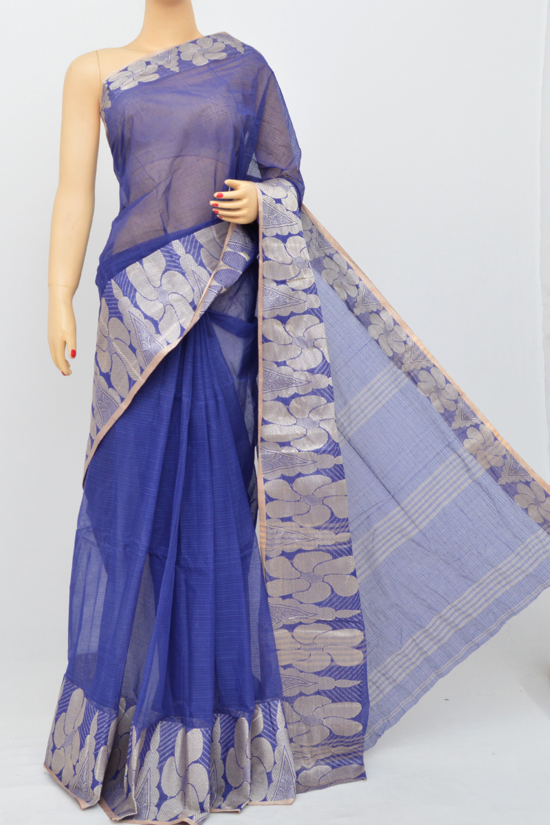 Blue Colour Bengal Handloom Cotton Saree(Without Blouse)MC250512