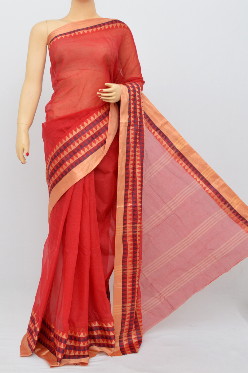 Red Colour Bengal Handloom Cotton Saree(Without Blouse)SM250512