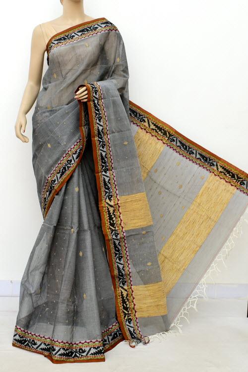f7d4c17a6 Grey Colour Handwoven Bengal Handloom Cotton Saree (without Blouse) 17086