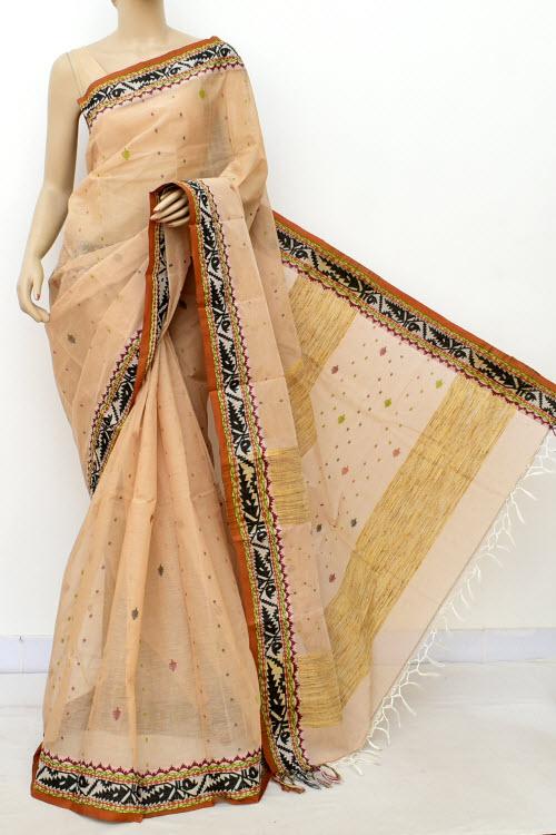 94b15bc4fa Biege Colour Handwoven Bengal Handloom Cotton Saree (Without Blouse) 17087