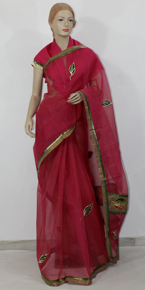 Traditional Kota Cotton Saree (Gota Patti - W/B) 11819