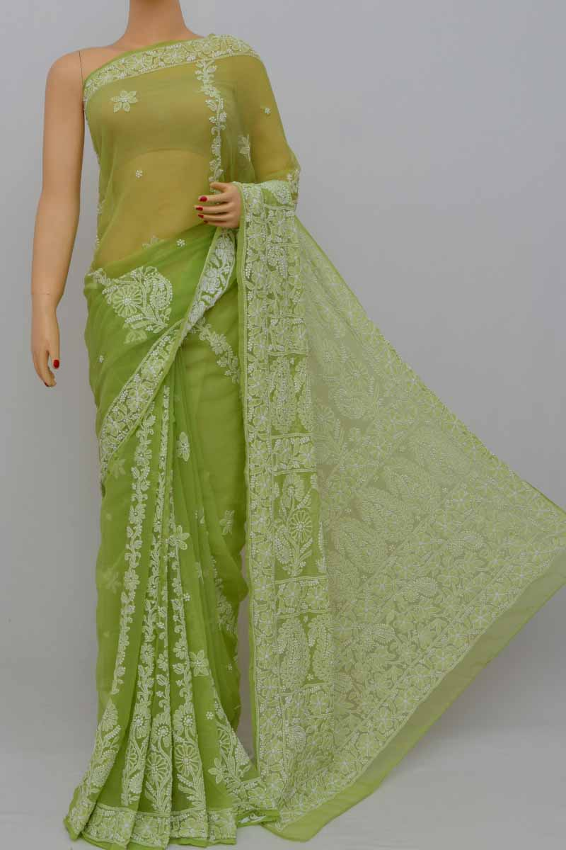Green Color Hand Embroidered Lucknowi Chikankari Saree (With Blouse - Georgette) KC250419