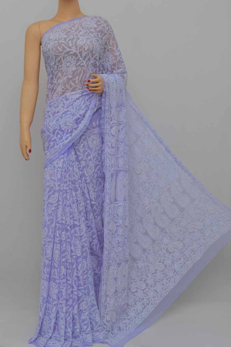 Iris Colour Allover Heavy Palla Hand Embroidered Lucknowi Chikankari Saree (With Blouse - Georgette) SS250414