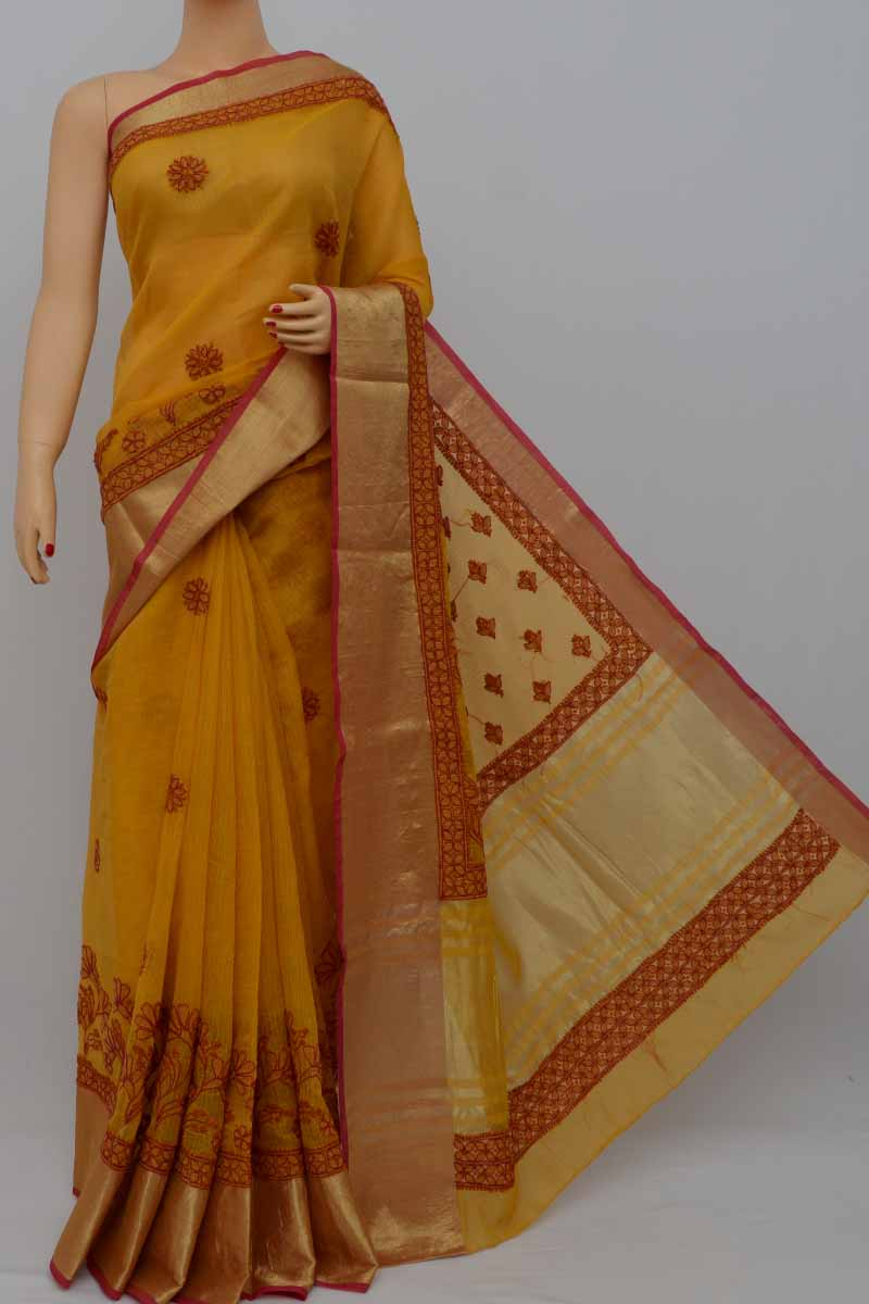 Goldyellow Kota Cotton Lucknowi Chikankari Saree (With Blouse) MY250416