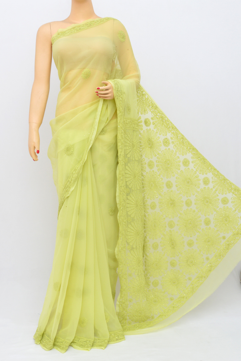 Green Color Hand Embroidered Work Lucknowi Chikankari Saree With Mukaish Work (With Blouse - Georgette) MY250542
