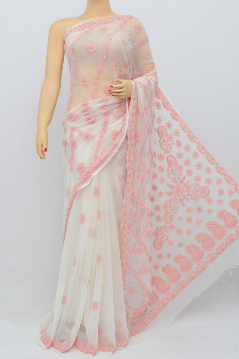 White Pink Color Hand Embroidered Half Chadhi Lucknowi Chikankari Saree (With Blouse - Georgette) KC250545