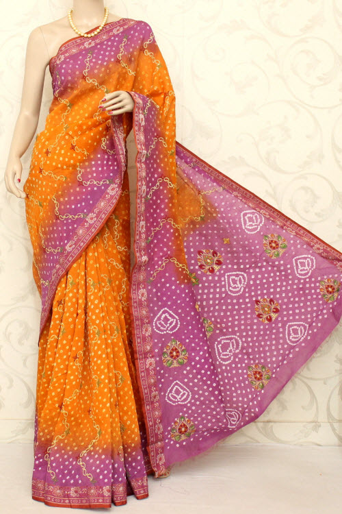 Designer Bandhani (Tie-n-Die) Embroidered Art Silk Saree (With Blouse) 12602