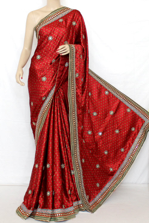 Exclusive Bandhani Style (Tie-n-Die) Satin Saree (With Blouse ) 12609