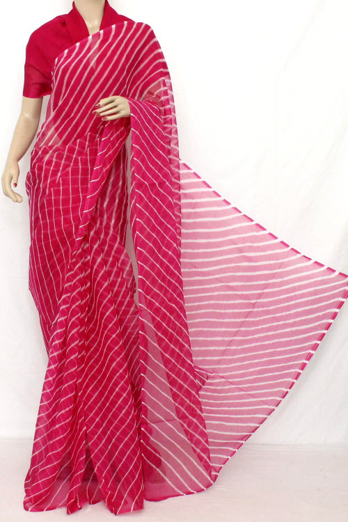Traditional Bandhani (Tie-n-Die) Semi - Chiffon Saree (With Blouse ) 12619
