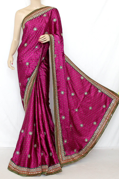 Magenta Exclusive Bandhani Style (Tie-n-Die) Satin Saree (With Blouse ) 12643