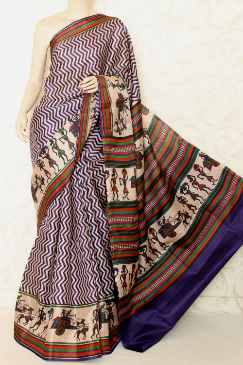 Tusser Art Silk Printed Sarees (With Blouse) 12738
