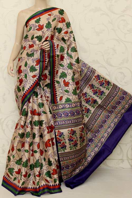 Tusser Art Silk Printed Saree (With Blouse) 12741